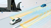 後方および左右後方の死角にいる車両を検知する「リアビークルモニタリングシステム」は、新型アテンザから採用されるという。