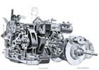 2ローター・ロータリーエンジン以下、コンパクトにまとめられたパワートレイン。フロントディスクブレーキはインボードタイプである。