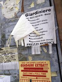 【写真3】スーパーの壁に貼られたポスター。「庭仕事します」「副収入を得よう」と書かれている。