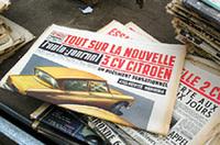 骨董市で見つけた、1950〜60年代に発行されたフランスのオートジャーナル紙(現在は雑誌)。当時既にカラーだった。