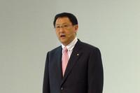 発表会場で挨拶をする、トヨタ自動車の豊田章男副社長。