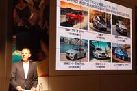 商品展開について説明する、BMWジャパンのペーター・クロンシュナーブル社長。いわく、「BMWにとって、プレミアムなコンパクトカー市場は重要性を増している」。