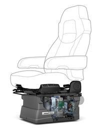 これは、単軸式Bose Rideの構造図。上下方向の揺れを抑制する。2010年からトラック用に販売され、多くのプロドライバーの身体的負担を軽減してきた。詳しくは、次ページにて。