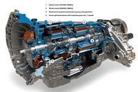 「ハイブリッド・トランスミッション」の透視図。(1)部分に「モーターA」、(2)部分に「モーターB」が組み込まれている。