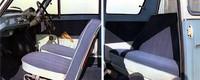 デラックスのインテリア。シートや内張りは布とビニールレザーのコンビネーションとなり、フロアカーペットが敷かれた。リアウィンドウにはカーテンが備わる。