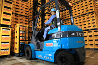 実証実験では、豊田自動織機の燃料電池フォークリフトを使用。キリンビールの横浜工場を含む4カ所の施設で、計12台が運用されている。水素の充填時間は約3分で、約8時間稼動する。