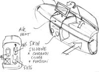 担当デザイナー、R.ジョリートが筆者に描いてくれた図。助手席側ダッシュボードを畳み室内を拡大できる。生産型に流用するかは不明。