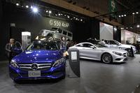 「C350eアバンギャルド」「S550クーペ」「GLE350d 4MATIC スポーツ」「G550 4x4-2」などをそろえたメルセデス・ベンツの日本のブース。