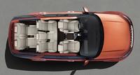 シートの配列を示す、イメージ図。画像は車両を上から見たところ。