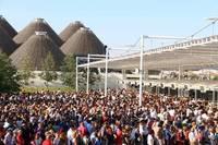 ミラノ国際博覧会のゲート。6カ月にわたる会期中に2000万人の来場者を見込んでいる。