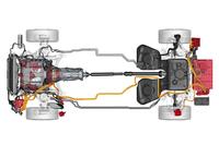 ハイブリッドパワートレインを上から見る。車両の前部(写真左)からエンジン、デカプラー(クラッチ)、モーター、8段ATの順。エンジンの左側にあるのはインバーターとDCコンバーターからなる「パワーエレクトロニクス」。駆動用バッテリーはリアオーバーハングに搭載され、その右側に充電用の「オンボードチャージャー」が配置される。(イラスト=ポルシェ)