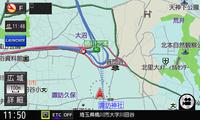 圏央道・桶川北本ICよりも東側は未開通(平成27年度中に開通の予定)だが、美優Naviの地図は破線で開通予定の道路が表示されている。