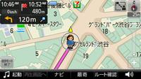「徒歩モード」では、電子コンパス機能が活躍する。