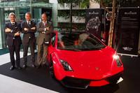 左からランボルギーニ・ジャパンのエジナルド・ベルトーリ代表、ランボルギーニのマウリッツォ・レジアーニ ディレクター兼モータースポーツ責任者、ブランパンのアラン・デラムラ副社長兼マーケティング責任者。