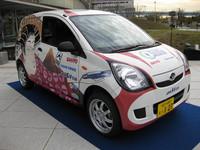 「ミラバン」を改造してつくった電気自動車。