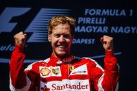 フェラーリのセバスチャン・ベッテルがハンガリーGP初勝利。優勝した今季第2戦マレーシアGP同様、王者メルセデスの動揺を誘った見事な戦いぶり。予選3位からスタートでトップに立つとリードを広げ、セーフティーカーでそのマージンを帳消しにされてもしたたかに走り抜いた。(Photo=Ferrari)
