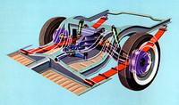 バネ下重量の軽減による優れた乗り心地とロードホールディングの向上を狙って採用された「ド・ディオン・アクスル」。スプリングはリーフだった。