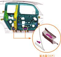 ドア側にフック、サイドシル側にキャッチャーが設置される。側面衝突時にドアがキャビンに侵入しにくくし、衝撃をサイドシルやクロスメンバーに分散させる効果が期待される。