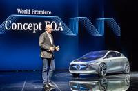フランクフルトショー2017でメルセデスが世界初公開した、電気自動車のコンセプトモデル「コンセプトEQA」。
