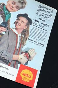 1960年代の雑誌広告から。「シェル」は長年、イタリアで最もポピュラーな給油所ブランドだった。
