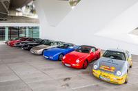 試乗会場に並べられたポルシェの歴代FRモデル。今回は「924」「924カレラGT」「944ターボ」「928S」の4台を試した。