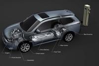 前輪をガソリンエンジンとモーター、後輪をモーターのみで駆動。