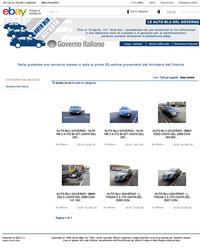 オークションサイト「ebay」に公開されたイタリア政府公用車の競売ページ。支払い方法は銀行または郵便振り込み。返品は14日以内というのが条件だ。