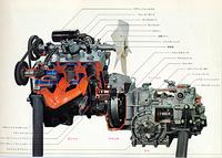 エンジンからクラッチ、ギアボックスを経てファイナルドライブに至るパワートレイン。2ストローク3気筒のバランスは、4ストローク6気筒のそれに匹敵すると謳っていた。