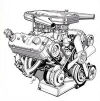 既存の1.3リッター直4ユニット2基を90度に組み合わせてつくられたV8SOHCエンジン。総排気量 2580cc、圧縮比9.2、2基のダブルチョーク・ソレックスキャブを装着して最高出力140ps/5600rpm、最大トルク 21.0kgm/3000rpmを発生した。発売後150psにチューンが高められたのち、67年秋には2982ccに拡大され、性能は 160ps/5100rpm、24.0kgm/3900rpmに向上した。