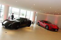 認定中古車の展示エリアの様子。この日は「458イタリア」と「599GTO」「F12ベルリネッタ」が展示されていた。
