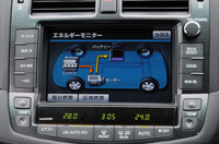 動力の流れを示す「エネルギーモニター」は、ハイブリッドならではの機能。