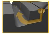 ウエット路面走行時における、「ウォータースライダーシステム」による縦溝への水の誘導の図解。