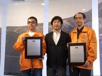 2012年に選定された86の峠すべてを制覇した「峠マイスター」のおふたり、IMUさん(写真右)とSUさん(写真左)。IMUさんは、北は北海道から南は沖縄までの全ノミネート峠をわずか3カ月半で、SUさんは、なんと2カ月で制覇したとのこと。