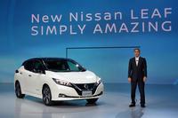 2017年9月6日に発表された、新型「日産リーフ」。傍らに立つのは、日産自動車の西川廣人(さいかわ ひろと)社長兼CEO。
