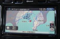 「リーフ」のカーナビ画面。残りのバッテリーでどこまで到達できるかを、地図上で把握することができる。