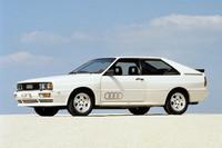 「アウディ・クワトロ」(1980年)。2.1リッター直5ターボを積む4WD車で、ラリーシーンの活躍でも知られる。