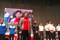 2014年シーズンのSUPER GT GT500クラスでチャンピオンとなった松田次生選手。「今年は、ここにいるみんなが自分をやっつけにくるでしょうが、負けないようがんばります」。