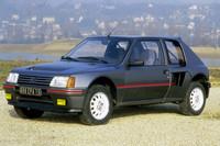 WRC(世界ラリー選手権)のホモロゲーションモデル、「205ターボ16」。