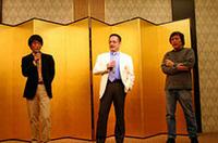 業界を代表する評論家3氏(左から脇森宏氏、小林貢氏、石田功氏)が審査の一部を担当。この日の審査はこの3人のほかクラスA社長の久家氏、ハインツ・フィッシャー氏の配点も加算される。HELIX賞はフィッシャー夫人が選んだ。