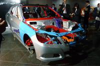 「セーフティボディ」。ボディ全体の72%に高張力鋼板/極超高張力鋼板を使用しているという。
