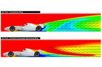 上はコンベンショナルなリアウィングを装着した際の空気の流れをあらわしたもの。発生するリフト(上向きの力)により、後方のマシンのダウンフォースは奪われ、追い抜きが困難になる。いっぽう、下のCDGウィング装着時においては、マシンを地面に押し付ける力=ダウンフォースが増し、後方車は前方のマシンに接近でき、オーバーテイクの機会も増えるという主張だ。