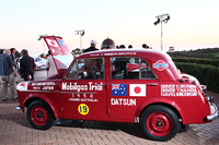 """夕食会の会場には、日産の歴史を語る上で欠かせない名車を展示。こちらは1958年のオーストラリア一周ラリー「モービルガス・トライアル」でクラス優勝を遂げた、「ダットサン210""""富士号""""」。"""