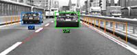 EyeSightの画像認識イメージ。前走車との距離を計測し、演算を行う。
