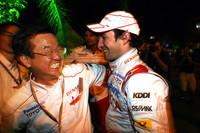 好調トヨタは2戦連続表彰台&ダブル入賞。喜ぶティモ・グロック(右)と山科忠チーム代表。(写真=Toyota)