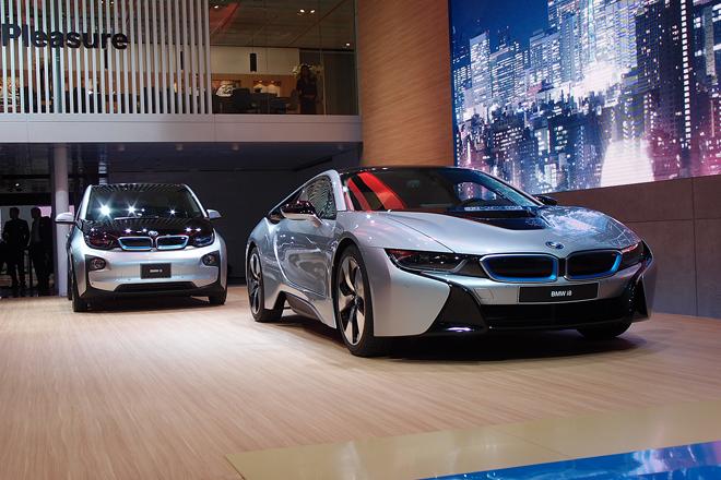 電気自動車やプラグインハイブリッド車などをラインナップする、BMWの新しいサブブランド「BMW i」のコーナー。
