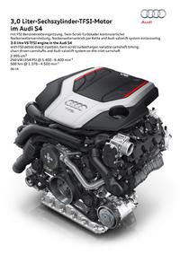 「S4」には354psを発生する3リッターV6ガソリンターボエンジンが搭載される。
