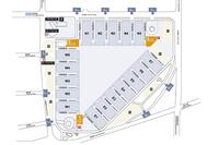 センターの俯瞰(ふかん)図。E、W、Nの展示場群が三角形を構成している。(写真=SNIEC)