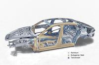 新型「パナメーラ」のボディー素材は、箇所に応じてスチールとアルミが使い分けられている。