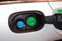 尿素水溶液の補充口は、燃料の給油口の左側(水色のキャップの方)に設けられている。