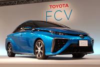 トヨタが開発を進める燃料電池車。写真は、2014年6月の概要説明会で披露されたプロトタイプモデル。